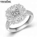 Vecalon Luxury Female 925 Sterling Silver ring AAAAA Zircon Cz Engagement <b>wedding</b> band rings for women Bridal <b>Jewelry</b>