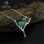 Lotus Fun Real 925 <b>Sterling</b> <b>Silver</b> Natural Aventurine Handmade Fine <b>Jewelry</b> Retray Bird Necklace with Pendant for Women Collier