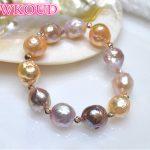 Genuine 100% Natural 11-13mm Multicolor Baroque Pearl <b>Bracelet</b> Fashion rose gold elasticity <b>bracelets</b> For women Free shipping
