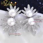 ZHIXI Pearl Earrings Fine <b>Jewelry</b> Double Pearl Zircon Hot Shining Cool Trendy Wedding Party For Women E1028