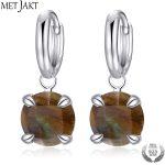 MetJakt Genuine Natural Labradorite Drop Earrings Solid 925 <b>Sterling</b> <b>Silver</b> Fashion <b>Jewelry</b> for Women Vintage <b>Jewelry</b> Earring