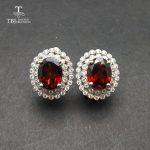 TBJ,925 <b>silver</b> <b>earring</b> clip with natural Mozambique Garnet ov 7*9,nautral garnet <b>earring</b> for women with gift box ,free shipping
