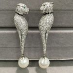 11-12MM natural tear-drop freshwater pearl drop <b>earring</b> 925 sterling <b>silver</b> with cubic zircon leopard animal <b>earring</b> fashion