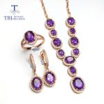 TBJ,Simple classic Jewelry set necklace ring <b>earring</b> with natural amethyst gemstone in 925 <b>silver</b> special jewelry gift for women