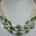Beautiful style 3 rows 7-8mm lovely white pearl green jades stone chalcedony stone diy necklace <b>making</b> MY4783