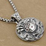 YIN YANG Dragon Flower 925 Sterling <b>Silver</b> Red CZ Mens Biker Pendant 9J005(<b>Necklace</b> 24inch)