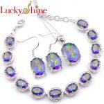 Luckyshine Mix 3Pcs/Set Mystic Fire Colourful Crystal Zircon <b>Silver</b> Wedding Earrings <b>Bracelets</b> Necklaces Pendant Jewelry Sets