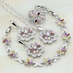 925 Sterling <b>Silver</b> Jewelry Multicolor Cubic Zirconia White CZ Jewelry Sets For Women Necklace/Earrings/<b>Bracelet</b>/Pendant/Ring