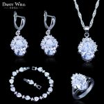 Top Quality White Austrian Crystal 925 Stamp <b>Silver</b> Color Jewelry Sets For Lady Pendant/Earrings/Ring/<b>Bracelets</b> Best Present