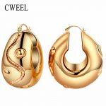 CWEEL Women Big Hoop Earrings for Bridal <b>Fashion</b> Wedding Classic Trendy Casual Bohemian Gold Color Vintage Arab Nigerian <b>Jewelry</b>