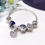 Good Quality Fashion Beautiful <b>Silver</b> <b>Jewelry</b> Blue Series Star Clasp 925 <b>Sterling</b> <b>Silver</b> Charm Bracelet For Lady