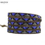 KELITCH <b>Jewelry</b> Blue Gray Black Crystal Seed Beaded Wrap Bracelet Genuine Leather Chain 5 Strand <b>Handmade</b> Brand Women Bracelet