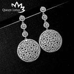 Queen Lotus Retro Totem Hollow Pattern Zircon Dangle Earrings Fashion <b>Wedding</b> <b>Jewelry</b> Earring for Women High-grade Earrings