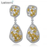 LUOTEEMI Big Teardrop Square CZ Crystal Long Irregular Round Pendant Earrings Boucle D'oreille Party Wedding <b>Jewelry</b> for Women