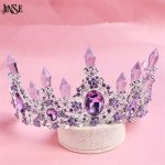 JINSE Hot sale New Fashion Elegant Purple Crystal Bridal crown classic Gold Tiaras for <b>Wedding</b> hair <b>jewelry</b> accessories CR179