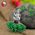 Exquisite Green Jade <b>Necklace</b> For Women 100% 925 Sterling <b>Silver</b> <b>Necklaces</b> & Pendants Jewelry Hollow Flower Good Fortune SP06