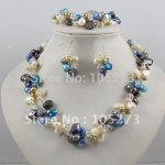Wholesale!Pearl Jewelry Set 2Rows AA 4-10MM Multicolor Pearl&White Crystal Necklace <b>Bracelet</b> Earring Rhinestone Magnet Clasp