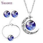 2017 New Arrival Silver Color <b>Jewelry</b> Set Earrings& Bracelet& Necklace Trendy Moon Necklace Horse <b>Image</b> Fine <b>Jewelry</b> For Women