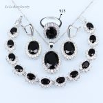 L&D <b>Silver</b> color 925 logo black stone crystal Jewelry Sets for Women white zircon wedding Earrings Necklace ring <b>Bracelet</b>