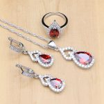 Neo-Gothic Red Zircon White Crystal Silver 925 <b>Jewelry</b> Sets For Women Wedding <b>Accessories</b> Earrings/Pendant/Necklace/Rings