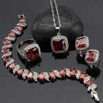 925 Silver <b>Jewelry</b> Red Cubic Zirconia White Beads Jewelery Sets For Russian Women Bracelet/Earrings/Ring/Pendant/<b>Necklace</b> Set