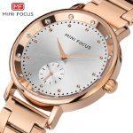 womens luxury rose gold wristwatches quartz stainless steel woman watches <b>silver</b> gold waterproof diamond MINI FOCUS ladies clock