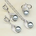 Gray Imitation Pearl White Cubic Zirconia <b>Jewelry</b> Set 925 Sterling Silver Bridal <b>Jewelry</b> For Women Earring/Ring/Pendant/Necklace