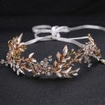 Europe and the United States hot new <b>handmade</b> hair with gold leaf <b>jewelry</b> accessories bride headdress bride's Hair Barrette