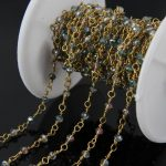 Rainbow Titanium small glass beads Faceted Rondelle Chains,Wire Wrapped Rosary Chain Necklace Charms Women <b>Jewelry</b> <b>supplies</b>