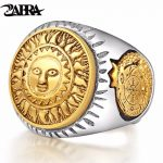 ZABRA 925 Sterling Silver Men Ring Gold Color Sun God Smile 3D Dinosaur Sculpture Adjustable Size Vintage Punk <b>Handmade</b> <b>Jewelry</b>