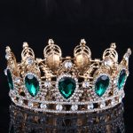 King/Queen Crown Green Gem Stone Bridal Tiaras Gold/<b>Silver</b> Crystal Zircon Bride Wedding Hair <b>Jewelry</b> Pageant Prom Crown Headband