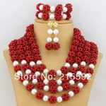 Free Shipping!2016 Latest Jewelry Sets Coral Beads Jewelry Set Nigerian Wedding African Beads Jewelry Sets Bridal Necklace CJ087