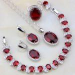 925 Sterling <b>Silver</b> Jewelry Red Crystal White Zircon Jewelry Sets For Women Wedding Necklace/Earrings/<b>Bracelet</b>/Pendant/Ring
