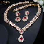 Pera CZ Classic Cubic Zirconia Gold Color Nigerian <b>Wedding</b> African Costume Big Statement <b>Jewelry</b> Set With Red Crystal Stone J060