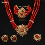 High Quality Italy hyperbole african Black red bead women wedding <b>Jewelry</b> Sets Fashion Rose <b>Necklace</b> Earrings party Sets