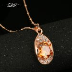 DFN132 Tears Drop Crystal Rose Gold Pated Necklaces & pendants <b>Jewelry</b> Wholesale For Women Crystal Chains colares
