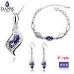 DAN'S Real Austria Crystals White Gold Color Fashion <b>necklace</b> earrings <b>jewelry</b> sets for women New Colors 90935Purple