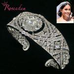 NEW Adjustable Meghan Markle Wedding Tiara Queen Mary Tiaras Rhinestone Crystal Royal Queen Crown Bridal hair <b>Jewelry</b> RE3037