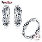 LZESHINE Original 925 Sterling <b>Silver</b> <b>Jewelry</b> Set Love Eternal Braided Pave Zirconia Ring Earrings Set For Women bijoux PSST0040