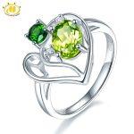 Hutang Genuine Peridot & Chrome Diopside Heart Ring S925 Sterling <b>Silver</b> Gemstone Rings for Women Best Gift Fine <b>Jewelry</b>