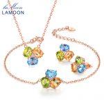 LAMOON 3pcs 3ct Oval Yellow Citrine Green Peridot Blue Topaz 925 sterling-<b>silver</b>-jewelry Jewelry Set V003-4