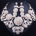 Hand painted 3D Flowers <b>Necklace</b> Earrings Set With Rhinestones Fashion Bridal Wedding <b>Jewelry</b> Set