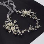 Floral Pearl Beads Crown Wedding Headpiece Tiara Headband Headdress Vine Hair Accessories Silver for Bride Bridesmaids <b>Jewelry</b>