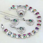 925 <b>Silver</b> Jewelry Rainbow Mystic Fire Stones White CZ Jewelry Sets For Women Wedding Necklace/Earrings/<b>Bracelet</b>/Pendant/Ring