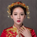 New Classical Vintage Chinese Style Gold Color Coronet Bridal Accessories Hair clips Earrings Handmade Wedding <b>Jewelry</b> Headbands