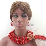Chunky New Red Big Bold <b>Handmade</b> <b>Jewelry</b> Sets African Crystal Beads Necklace Set Nigerian Wedding Free Shipping HD8433
