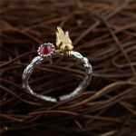 BESTLYBUY Real 925 Sterling Silver Ring <b>handmade</b> Bird Red Stone S925 Thai Silver Rings For women girl <b>Jewelry</b> Gift