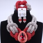 Silver Red Fashion African <b>Handmade</b> Beads Layer <b>Jewelry</b> Set Women Summer Choker Necklace Earrings Female Mother Party Gifts Set