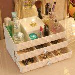 <b>Fashion</b> cosmetics storage box 2 drawer dressing dresser desktop <b>jewelry</b> storage box finishing Large
