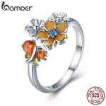 BAMOER New Collection 925 Sterling Silver Love of Butterfly CZ Crystal Open Size Rings for Women Sterling Silver <b>Jewelry</b> BSR001